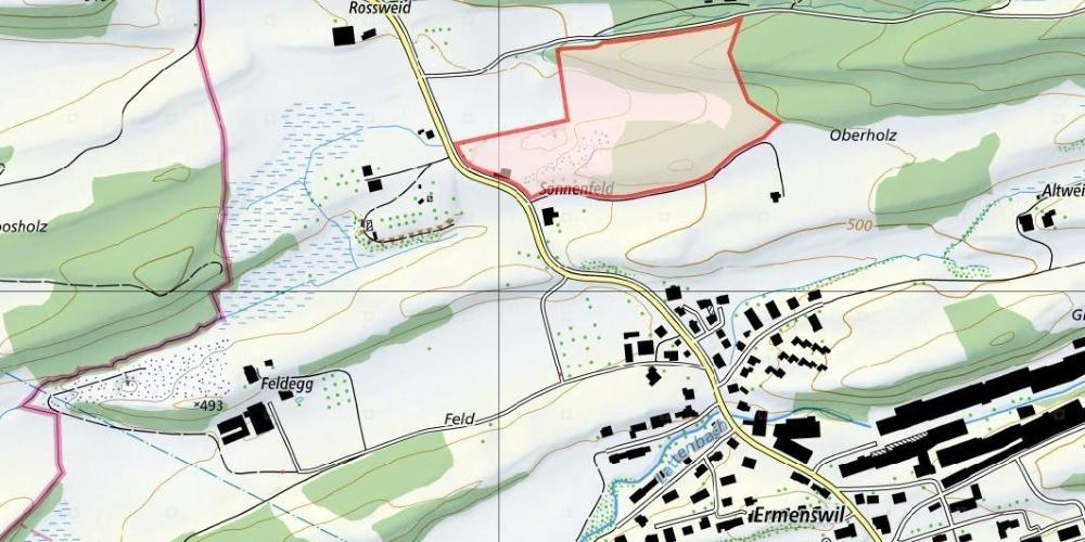 Rot eingezeichnet der Standort der Sonnenfeld-Deponie in Ermenswil.