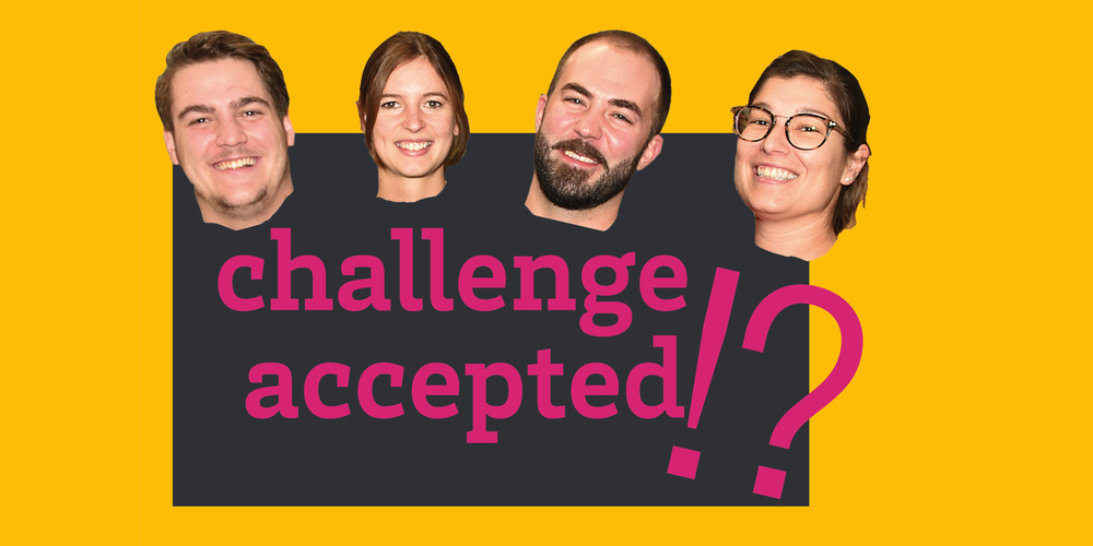 Die vier Online-Redaktoren Lars, Anouk, Oli und Patrizia stellen sich gegenseitig Challenges.