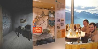 So vielseitig präsentieren sich die Indoor-Aktivitäten im Linthgebiet (v.l.n.r.): Escape Room, Stadtmuseum und Erlebnisbad.