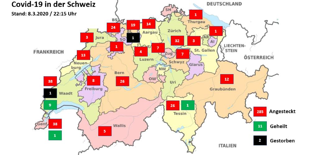 Covid-19: Zweiter Todesfall in der Schweiz | Kanton