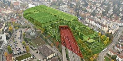 So wird der Autobahn-Deckel mit der neuen Messehalle aussehen
