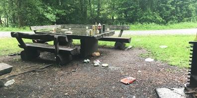 An manchen Rastplätzen und Feuerstellen im Wald blieb nach dem schönen Wochenende viel Abfall liegen.