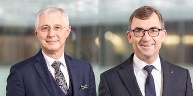 VR-Präsident: Thomas Gutzwiller (links), Präsident der Geschäftsleitung: Roland Ledergerber