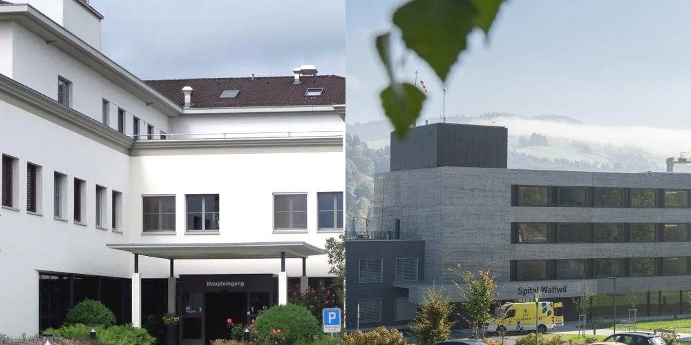Die stationären Angebote der Spitäler Flawil (l.) und Wattwil werden nach St.Gallen bzw. Wil verschoben.