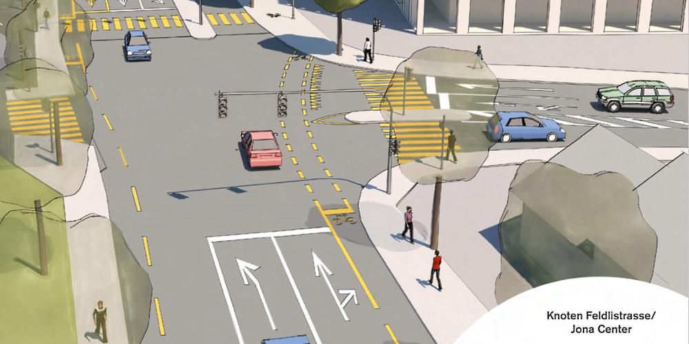 Projekt Avenida: Slalomfahrt zwischen Verkehr und Fussgänger-Trottoir statt separater Velospur.