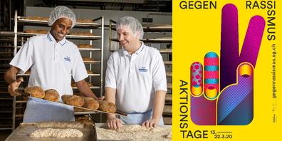 Tandemfoto-Porträt des Kunstvereins Oberer Zürichsee Leidenschaft und Bäckerstolz Huruy Gherezghiher, und Michael Winet arbeiten in Romer's Hausbäckerei Benken. Foto: Stefan Hug