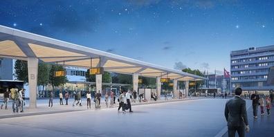 Visualisierung neuer Bahnhofplatz Wil mit Busbahnhof.