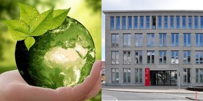Elisabeth Beer fordert von der Stadtführung (Bild r.: Stadthaus), dass das ursprüngliche Klimaziel 2040 an die Urne kommt.