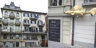 Das altehrwürdige Haus wurde 2007 nach dem grossen Hochwasser vollständig erneuert (Bild l.). Im kleinen Bistro bis 20 Personen (Bild r.)  gibt es auch Fischchnusperli.