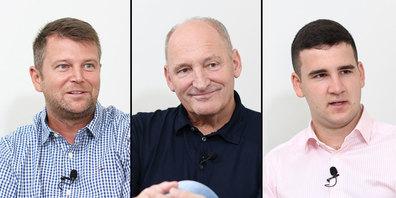 Sven Burlet (l.), Cony Sutter und Mihajlo Mrakic (r.) kandidieren für den Gemeinderat Schmerikon.