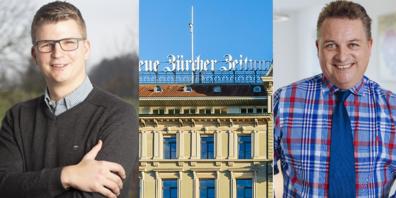 Mike Egger, (SVP, links) und Roman Jäggi (Verband Schweizer Online-Medien, VSOM, rechts) sing gegen Bundessubventionen für Grossverlage wie die NZZ.