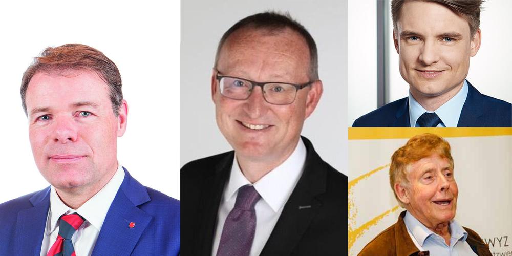Von Links: Dominik Zehnder, Präsident FDP; Herbert Huwiler, Präsident SVP; Matthias Kessler, Präsident CVP, und Karl Fischer, Präsident KSGV, haben dem Regierungsrat einen offenen Brief geschickt.