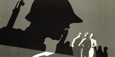 «Achtung, der Feind hört mit»: Auszug eines zeitgenössischen Plakats des Schweizer Armeekommandos.