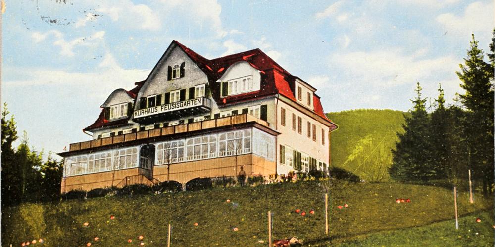 Postkarte von der Kur im Feusisgarten. Oda Schaefer und Horst Lange (kleine Bilder) erholten sich hoch über dem Zürichsee vom Krieg.