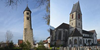 Zwei Schänner Sehenswürdigkeiten: der Gallusturm (links) und die Kirche St. Sebastian.