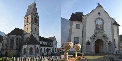 Zwei Ansichten der Schänner Kirche St. Sebastian.