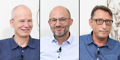 Christian Meier (FDP), Boris C. Meier (GLP)  und Stefan Schmidmajer (CVP), v.l.n.r., kandidieren für den Stadtrat von Rapperswil-Jona.