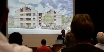 Anlässlich der Infoveranstaltung in der MZH Eichberg wurden die Vorstellungen der Architekten präsentiert (Bilder: Ulrike Huber)