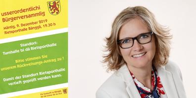 Mit einem Flyer mobiliserten die Gegner des Projektes «EInfach-Turnhalle Benken». Benkens Gemeindepräsidentin Heidi Romer.