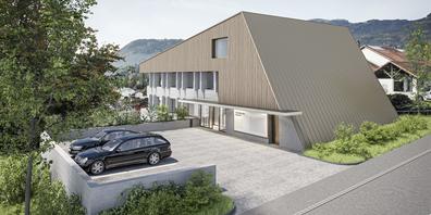 Die Visualisierung des Projektes von Archraum/EMM Architekten zeigt ein ansprechendes Gebäude