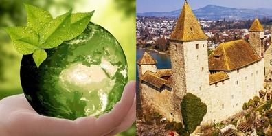 Die Stimmbevölkerung befand über das städtische Klimaziel 2050 und den Investitionsbeitrag fürs Rapperswiler Schloss (r.). In beiden Fällen resultierte ein Ja.