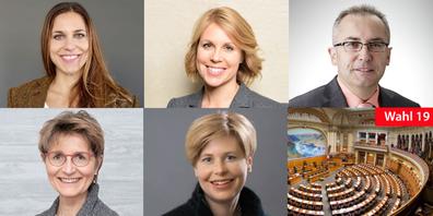 Gewerbekandidaten, die vom «Gewerbe St.Gallen» nicht unterstützt werden. (oben v.l.n.r: Karin Weigelt, Judith Scherzinger, Thomas Amann; Unten: Brigitte Bailer, Esther Friedli)
