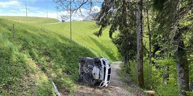 Das Auto blieb nach dem Selbstunfall auf der Seite auf einem Waldweg liegen.