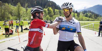 Mit Mathias Flückiger (links) und Nino Schurter, im Bild diesen Mai an der Schweizer Meisterschaft, haben die Schweizer Mountainbiker in Tokio gleich zwei Trümpfe