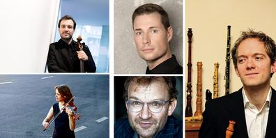 An den «SommerMusikWollerau»-Konzerten beteiligt: Alex Jellici (Barockcello), Monika Baer, Barockvioline, und Organist Michael Pelzel (unten) sowie Philipp Wagner, Barockoboe (r). In der Mitte oben: Alexander Seidel: Lesungen und Kantaten.
