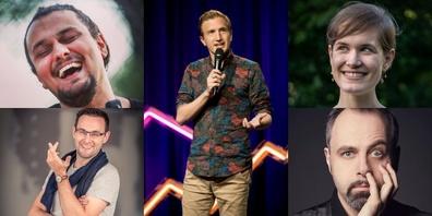 Am Wochenende geht in Rapperswil die «Comedy-Post» ab: Stefan Büsser (m.), Michelle Kalt (o.r.), Michel Gammenthaler (u.r), Ahmet Bilge (o.l.) und «dä Chäller» (u.l.) bringen Comedy nach Rapperswil.