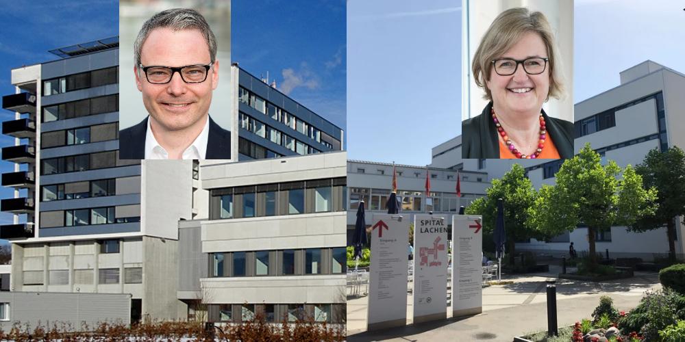 Peter Werder (Spitaldirektor Linth) und Franziska Berger (Spitaldirektorin Lachen) nehmen Stellung zur aktuellen Corona-Krise.