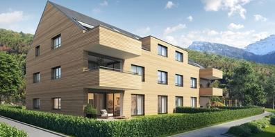 Die BACHWIESE-Neubauten im Schänner Ortsteil Maseltrangen werden nach einem harmonischen Architekturkonzept gestaltet.