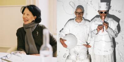 Links Susanna Kulli und rechts das Künstlerduo Andres Lutz und Anders Guggisberg.