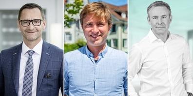 Im Bild von links: Enrico Lardelli, Mitglied der Geschäftsleitung GKB und Mitglied des VR der emonitor AG / Daniel Baur, CEO und Mitgründer der emonitor AG / Dr. Roman Timm, CEO von newhome.ch AG