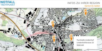 Kartenausschnitt mit Notfall Treffpunkt Lindenhof in Wil.