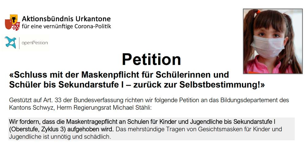 So sieht die Petition des Aktionsbündnisses der Urkantone gegen die Maskenpflicht in der Schule aus.
