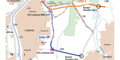Das Genehmigungsverfahren für die CP-Variante (blau) der Schnellstrasse S18 wird nach Ansicht des Grünen-Klubchefs Daniel Zadra frühestens in zehn Jahren beginnen