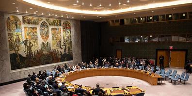 ARCHIV - Blick auf eine Sitzung des Sicherheitsrates der Vereinten Nationen (UN). (Archivbild) Foto: Ralf Hirschberger/dpa