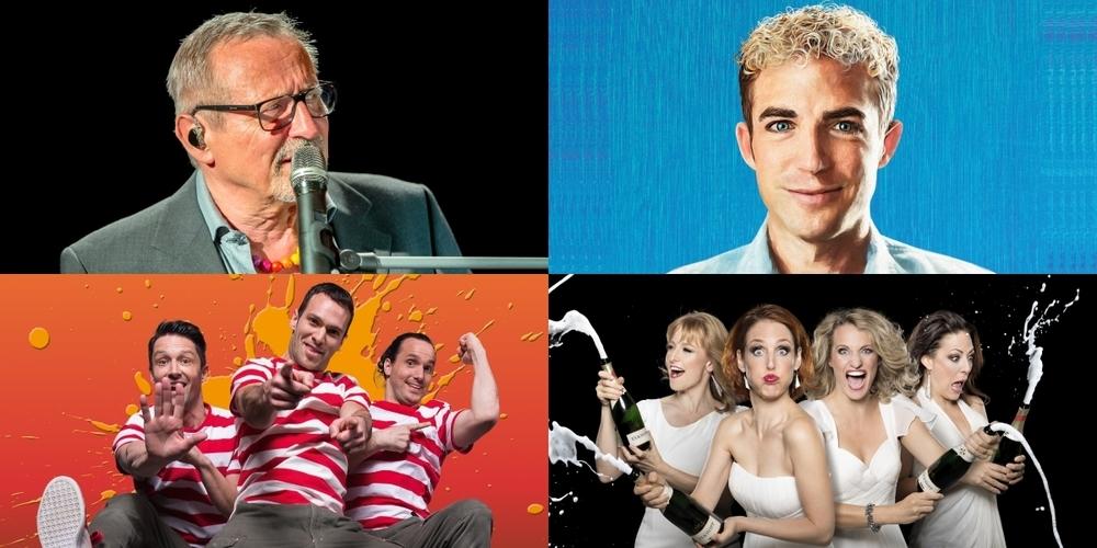 Bald im Kreuz: Konstantin Wecker (o.l.), Starbugs Comedy (u.l.), die Exfreundinnen (u.r.) und Michael Elsener.