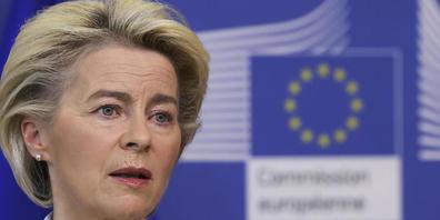 Ursula von der Leyen, Präsidentin der Europäischen Kommission, spricht bei einer Pressekonferenz zum Thema Corona-Impfstoffe am EU-Hauptsitz. Foto: Yves Herman/Pool Reuters/AP/dpa