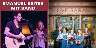 """Am Donnerstagabend: Live-Konzert mit Emanuel Reiter um 20:00 Uhr, Kinofilm """"Love Sarah"""" um 21:30 Uhr."""