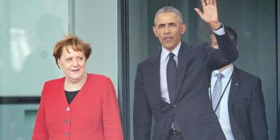 dpatopbilder - ARCHIV - Angela Merkel und der ehemalige US-Präsident Barack Obama kommen nach einem Gespräch aus dem Kanzleramt. Foto: Michael Kappeler/dpa