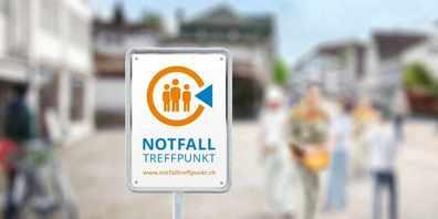 Im Kanton St. Gallen wurden insgesamt 166 neue Notfalltreffpunkte geschaffen, welche durch ein Schild signalisiert werden.