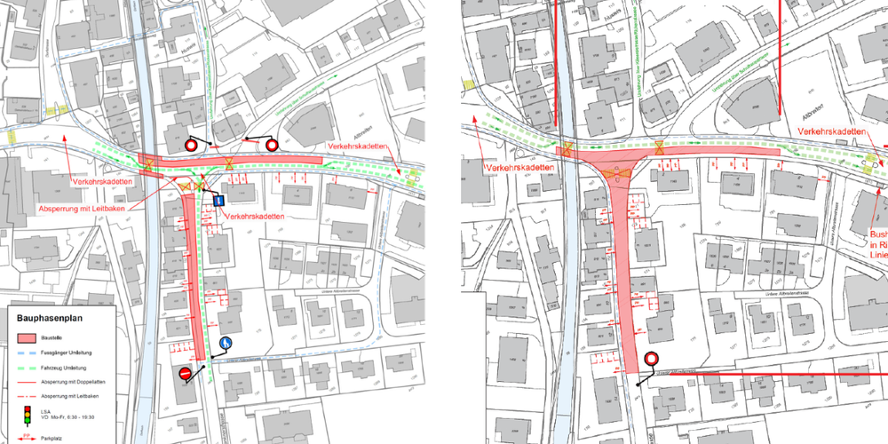 Auszug aus dem Bauphasenplan der Deckbelagsarbeiten: Etappe 1 (18. Juni, l.) und Etappe 2 (21./22. Juni).