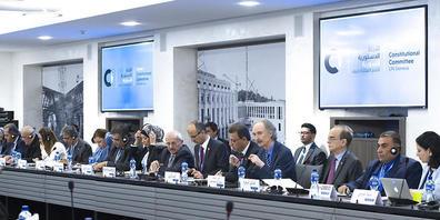 ARCHIV - Bereits seit 2019 gibt es immer wieder Treffen zwischen Vertretern, die auf eine neue Verfassung für Syrien hinarbeiten. Foto: Violaine Martin/UN Geneva /dpa - ACHTUNG: Nur zur redaktionellen Verwendung und nur mit vollständiger Nennung d...