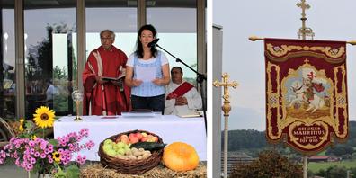 So schmuckvoll wird in Lenggenwil der Erntedank gefeiert. / Die antike Kirchenfahne zeigt den römischen Offizier Mauritius und Kirchenpatron von Lenggenwil.