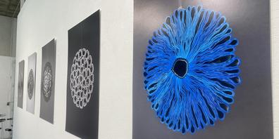 Die Künstlerin Eva Gratzl hat aus Broschüren erst Objekte geschaffen und diese dann fotografiert.