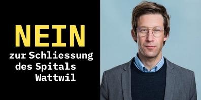 Plakat «Nein zur Schliessung» und Guido Berlinger-Bolt  Politischer Sekretär SP SG.