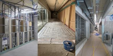 Impressionen vom Innenausbau (v.l.n.r.): Sanitär, Bodenheizung im Korridor und Lüftungsbau.