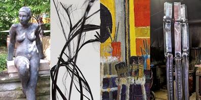 Vier Künstler, ein Thema: Jürg Jenny, Armin Burghagen, Thomas Jutz und Peter Federer  und ihre Werke (von links)